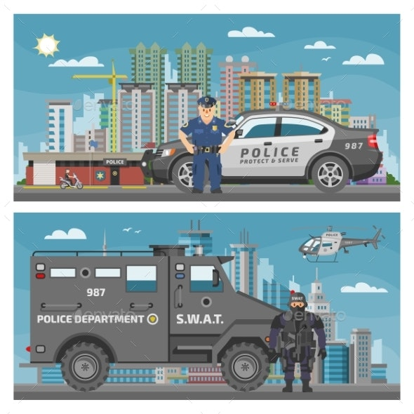 Police Car Vector Policeman Character and Policy - Man-made Objects Objects