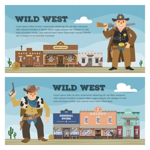 Wild West Vector Cowboy Character Saloon Western - Buildings Objects