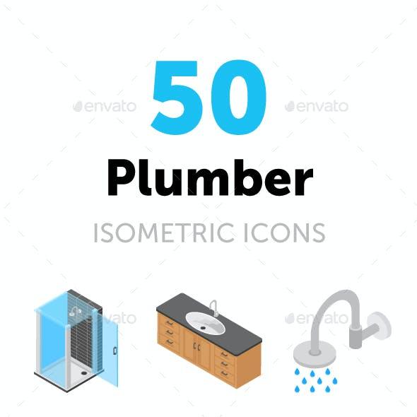 50 Plumber Isometric Icons