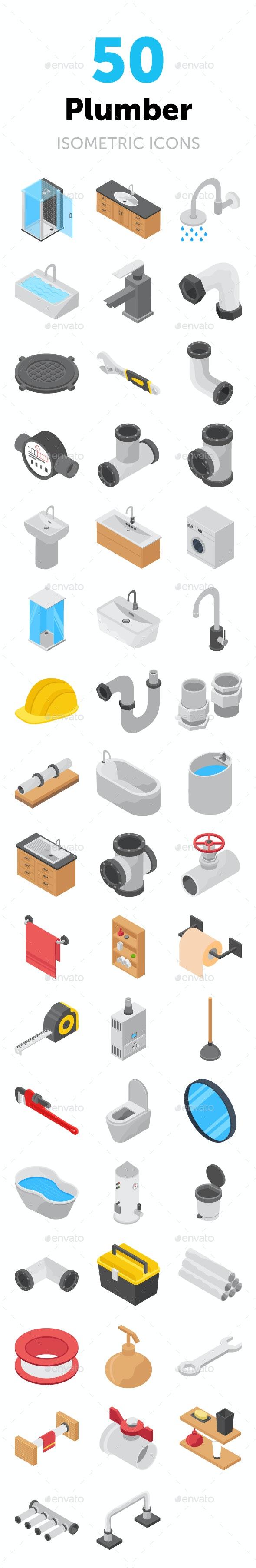 50 Plumber Isometric Icons - Icons