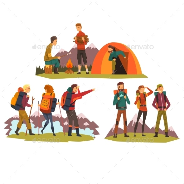 People Travelling Together, Camping , Tourists - Sports/Activity Conceptual
