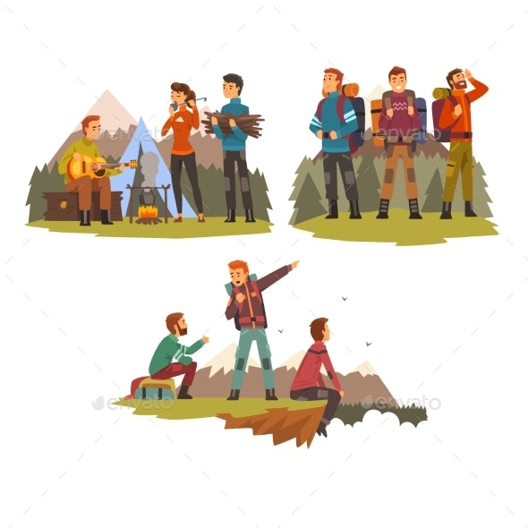 Men Travelling Together, Camping People, Tourists - Sports/Activity Conceptual