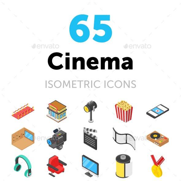 65 Cinema Isometric Icons