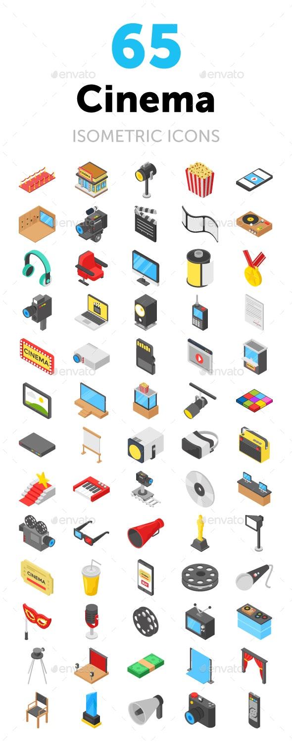 65 Cinema Isometric Icons - Icons