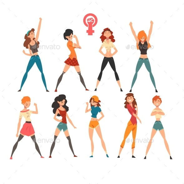 Young Women Showing Fists Set, Symbols of Feminism - People Characters