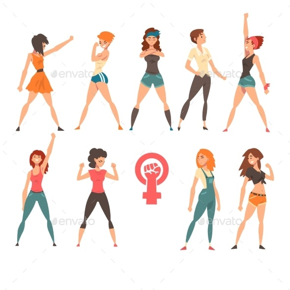 Young Women Showing Fists Set, Feminism, Fighting - People Characters