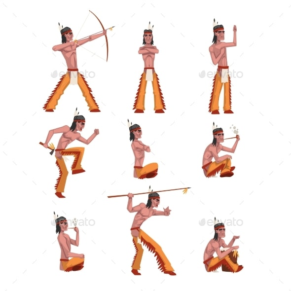 Native American Indian Man in Different Situations - People Characters