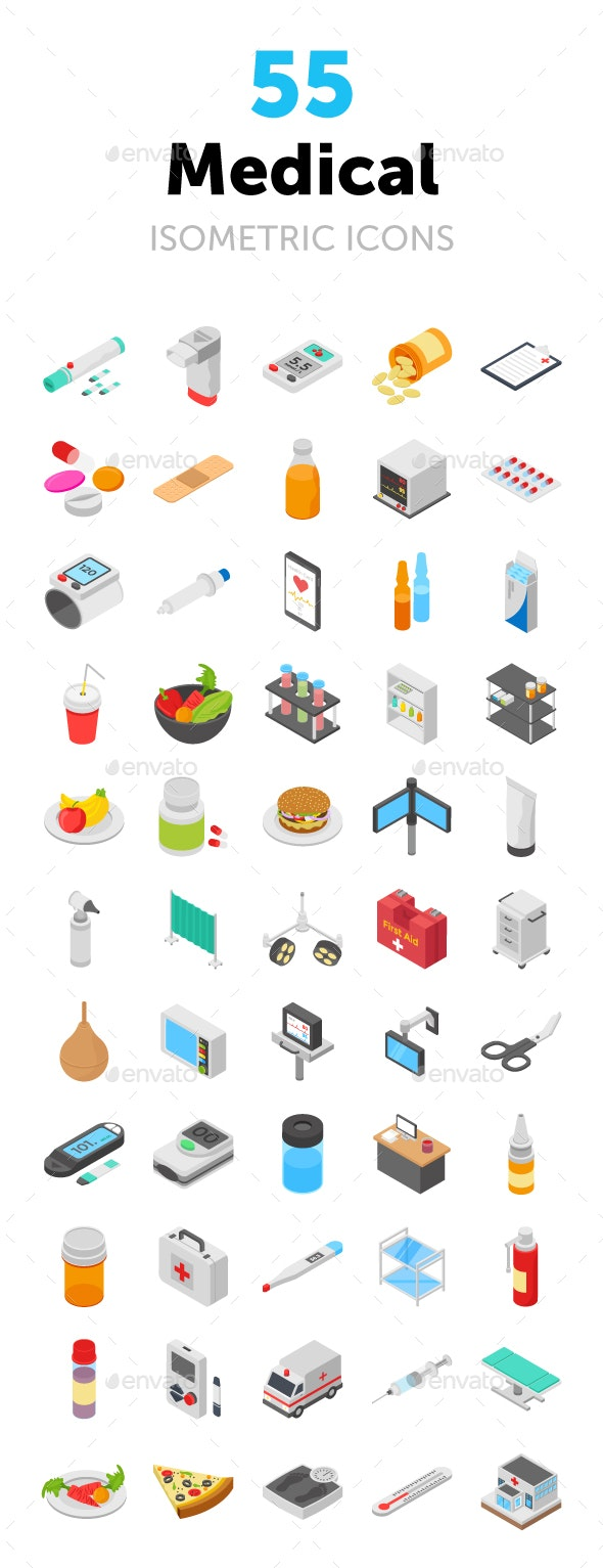 55 Medical Isometric Icons Pack - Icons