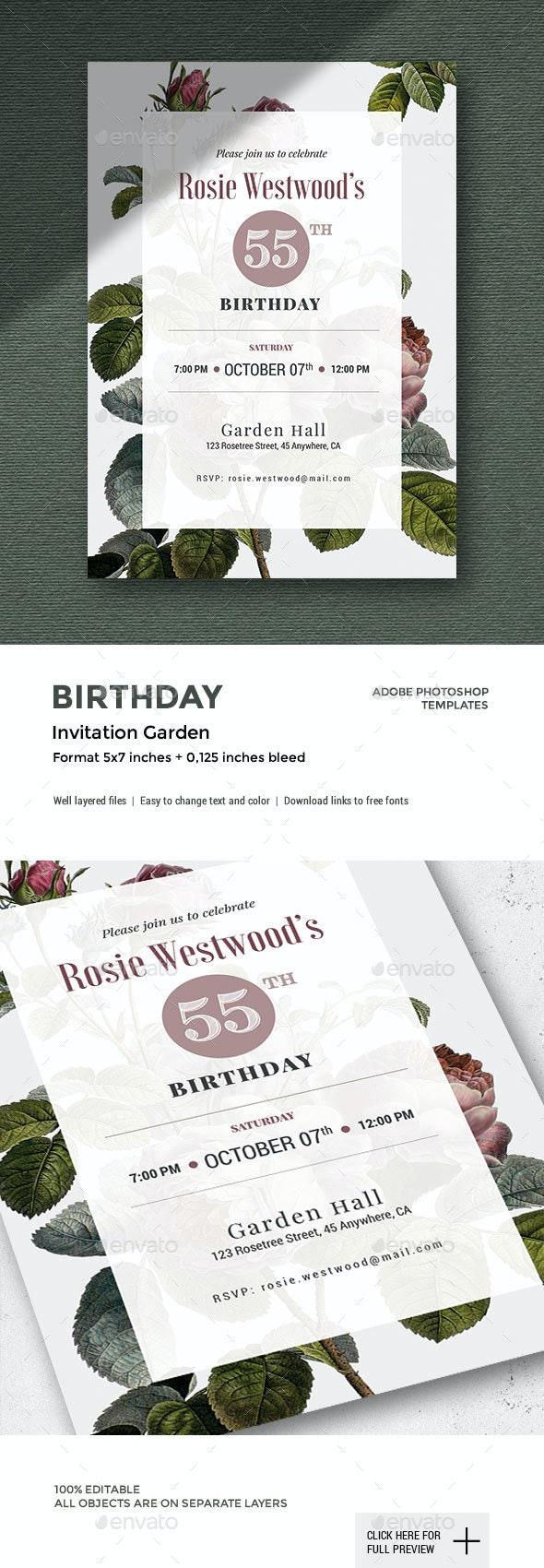 GARDEN - Birthday Invitation - Cards & Invites Print Templates