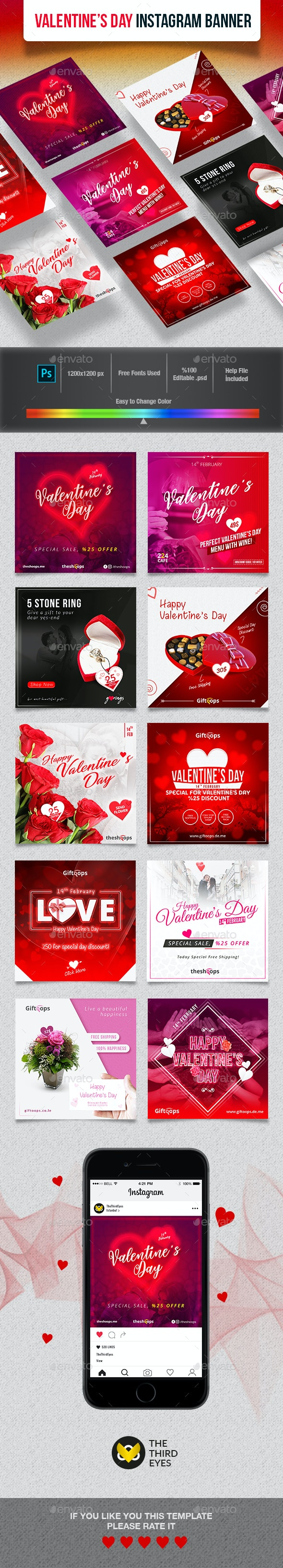Valentines Day Instagram Banner - Social Media Web Elements