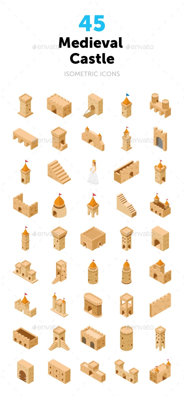 45 Medieval Castle Vector Icons - Icons
