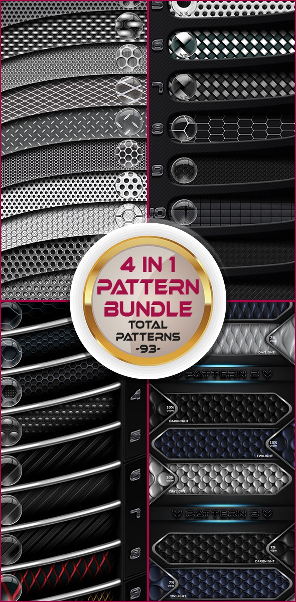 4 in 1 Pattern Bundle - Totally 93 Patterns - Techno / Futuristic Textures / Fills / Patterns