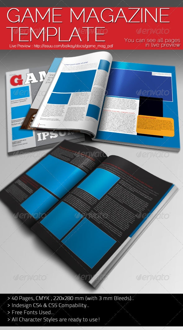 Game Magazine Template - Magazines Print Templates