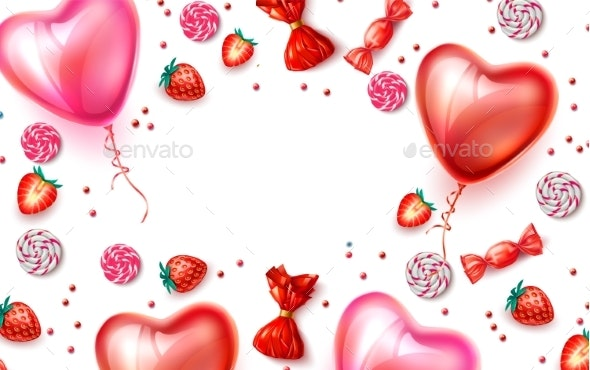 Vector Happy Valentine Day Heart Balloon Candy - Backgrounds Decorative