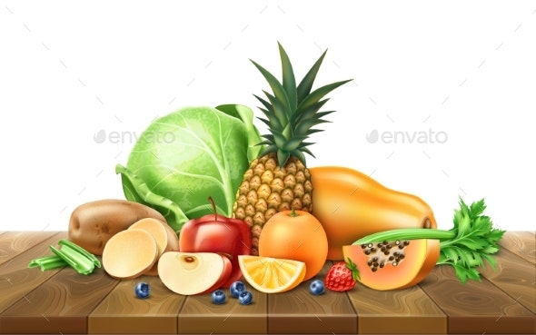 Vector Healthy Food Organic Fruit at Wooden Table - Food Objects