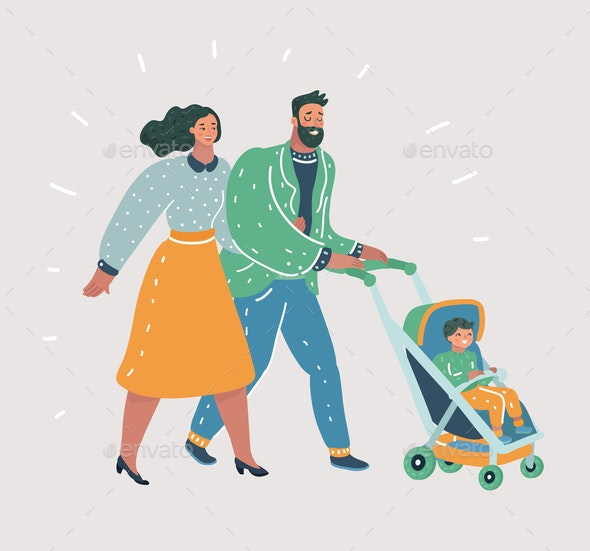 Happy Parents Walking with Their Little Child - People Characters