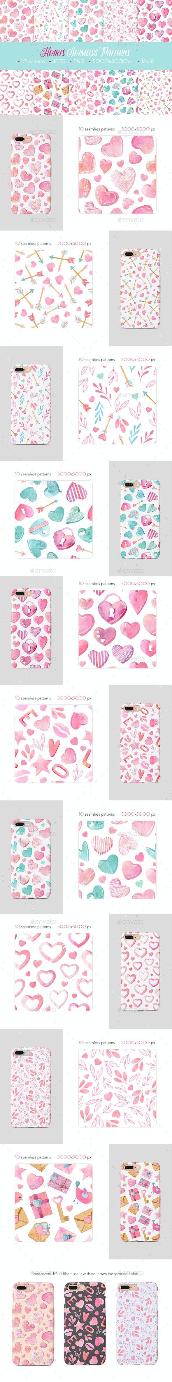 Watercolor Hearts Seamless Patterns - Patterns Decorative