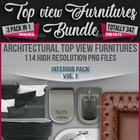 3 in 1 Top View Furnitures Bundle - Totally 342 Png Files