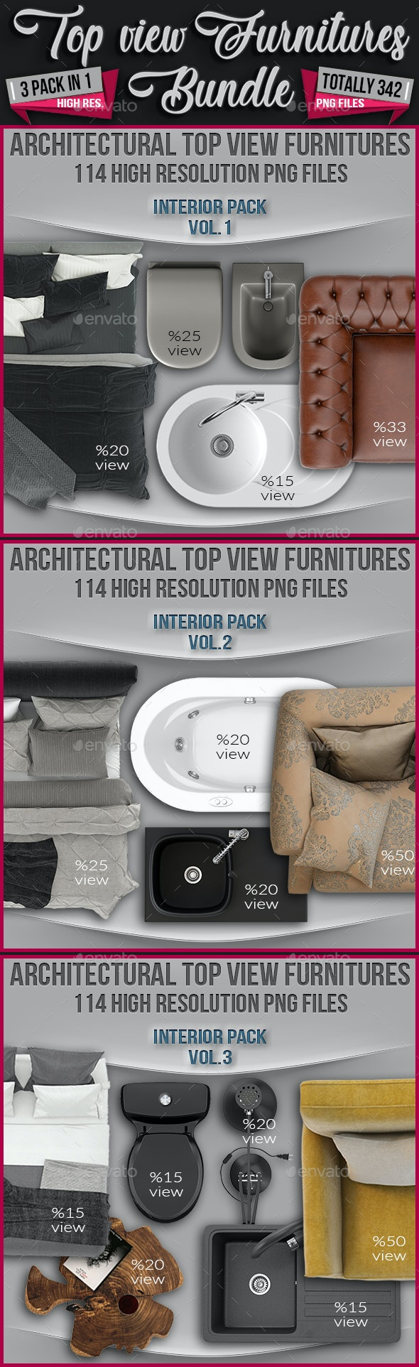 3 in 1 Top View Furnitures Bundle - Totally 342 Png Files - Miscellaneous Product Mock-Ups