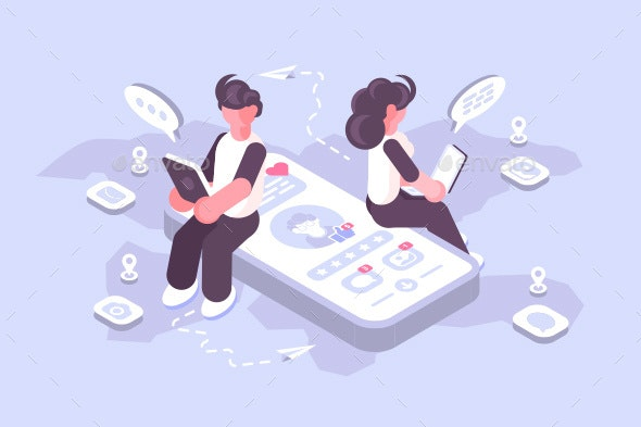 Man and Woman Using Social Media on Modern Gadgets - Communications Technology