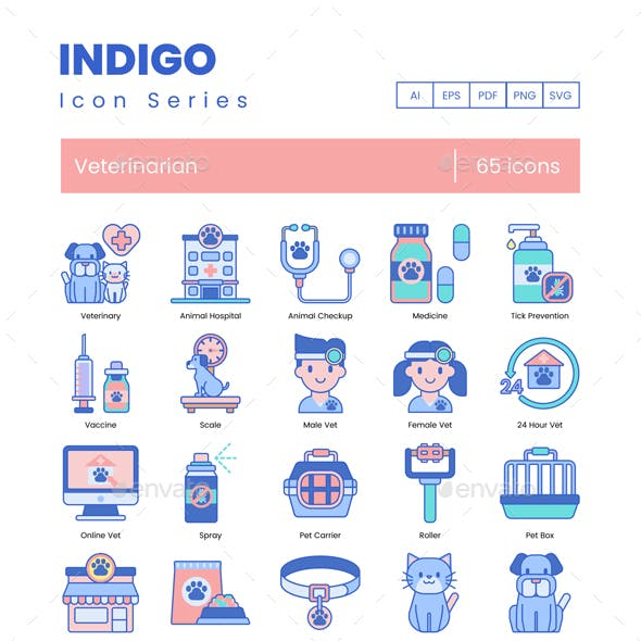 Veterinary Icons - Indigo Series