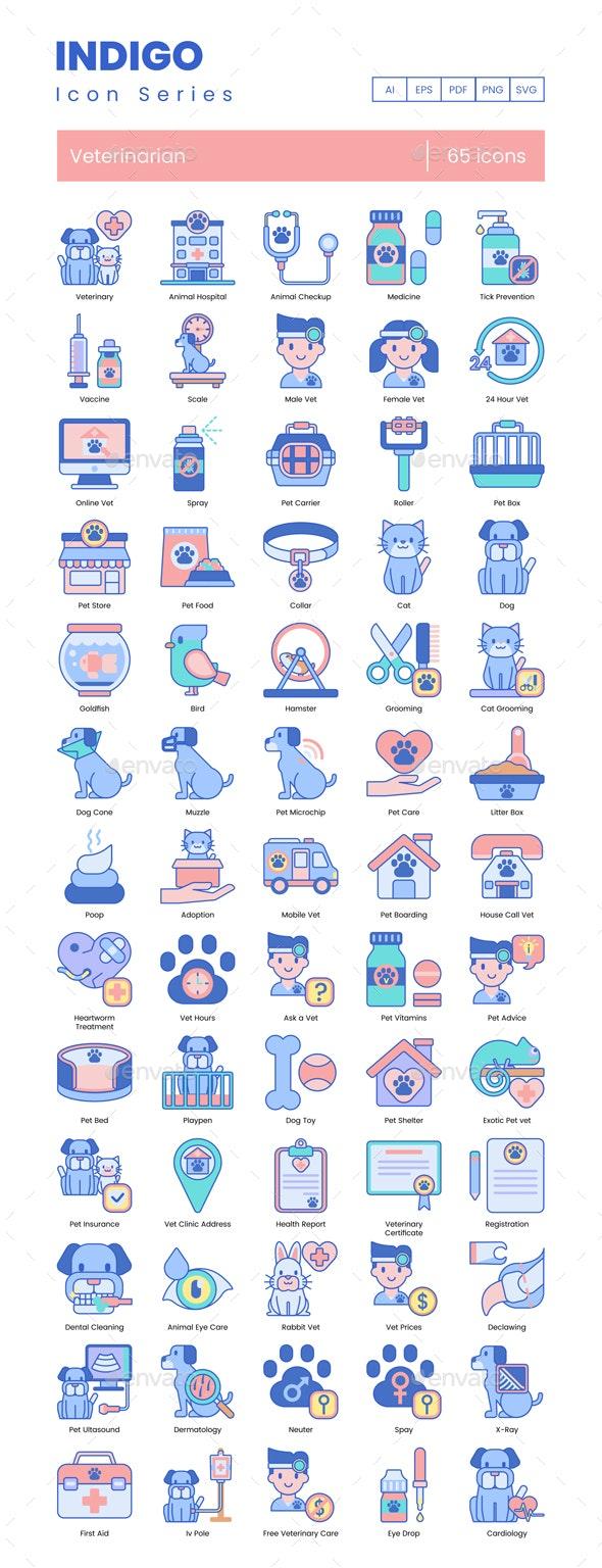 Veterinary Icons - Indigo Series - Animals Characters