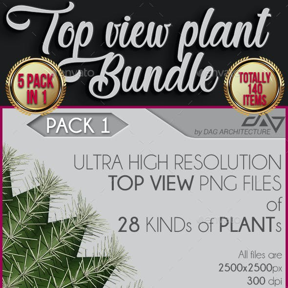 5 in 1 Top View Plants Bundle - 140 PNG Files