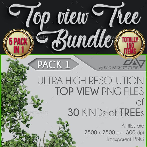5 in 1 Top View Tree Bundle - 150 PNG Files