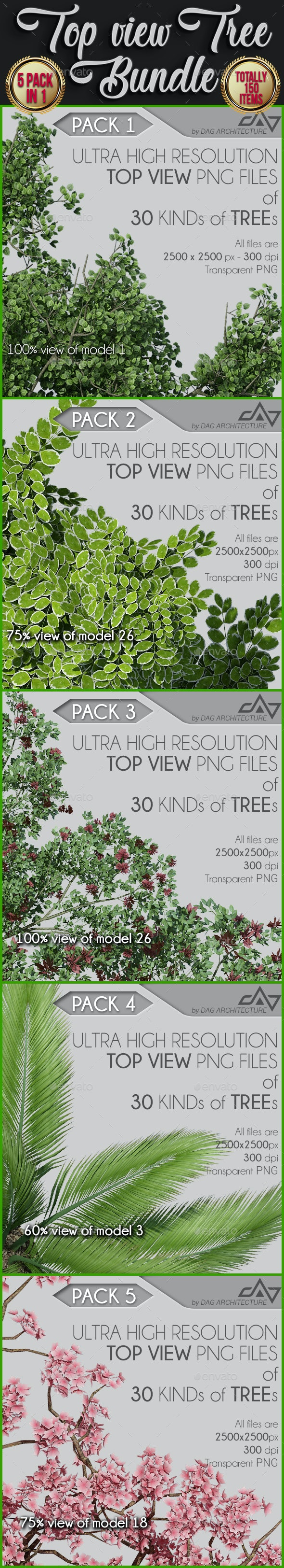 5 in 1 Top View Tree Bundle - 150 PNG Files - Objects 3D Renders