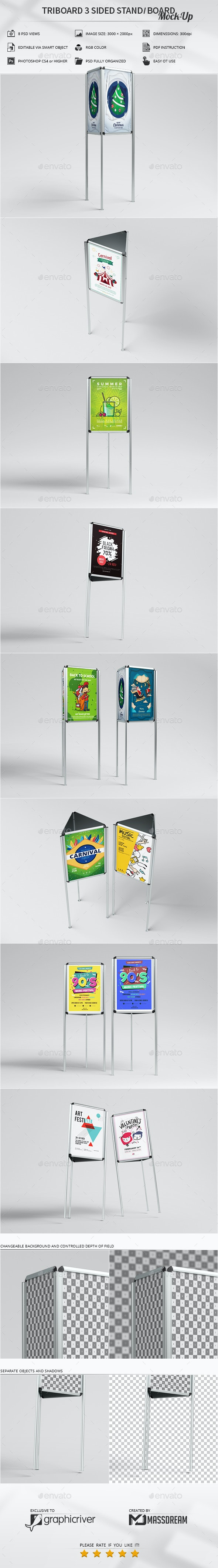 Triboard 3 Sided Stand / Board Mock-Up - Signage Print