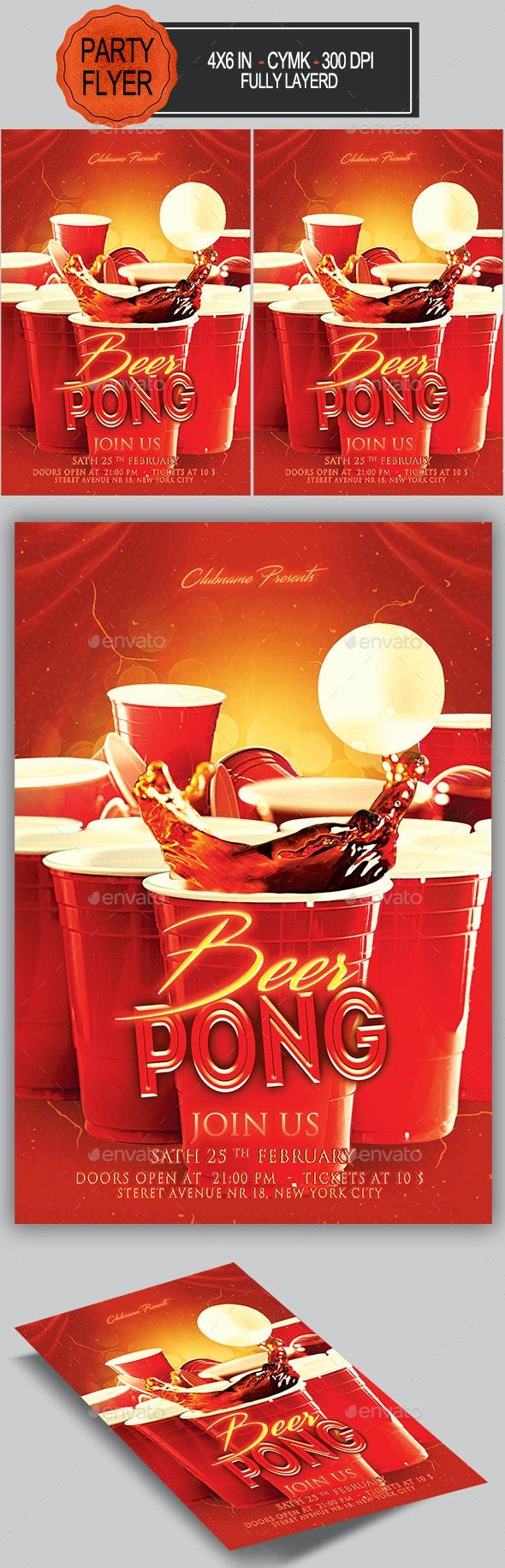 Beer Pong Flyer - Clubs & Parties Events
