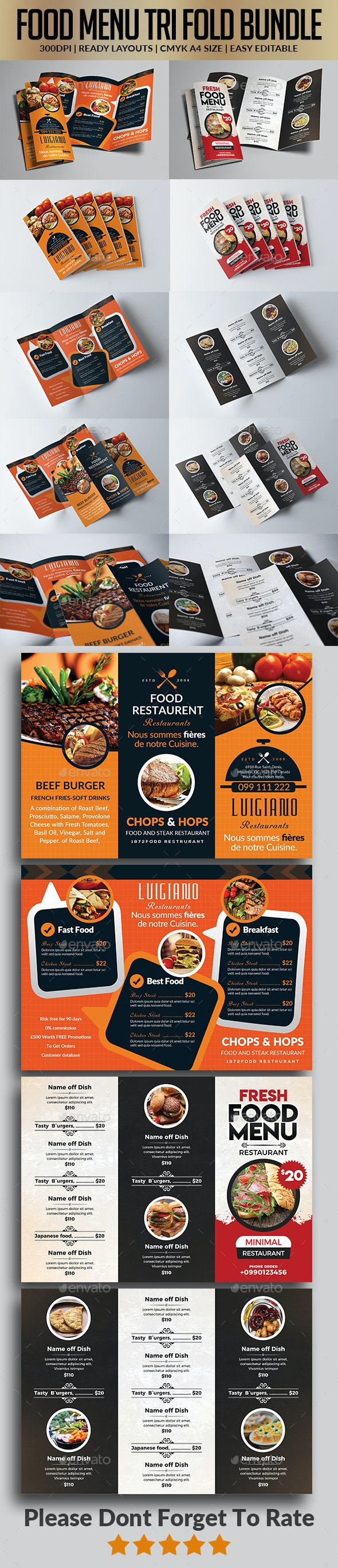 Restaurant Menu Tri Fold Brochure Bundle - Food Menus Print Templates