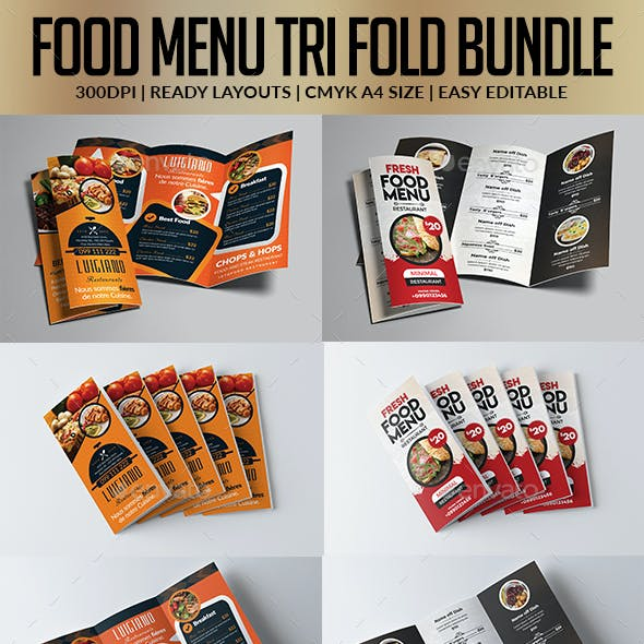 Restaurant Menu Tri Fold Brochure Bundle