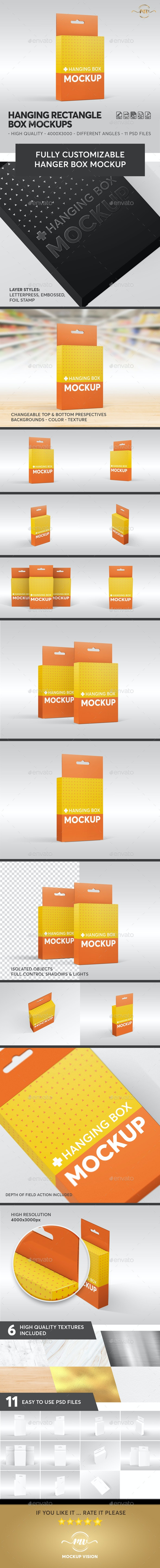 Hanging Flat Rectangle Box Mockups - Miscellaneous Packaging