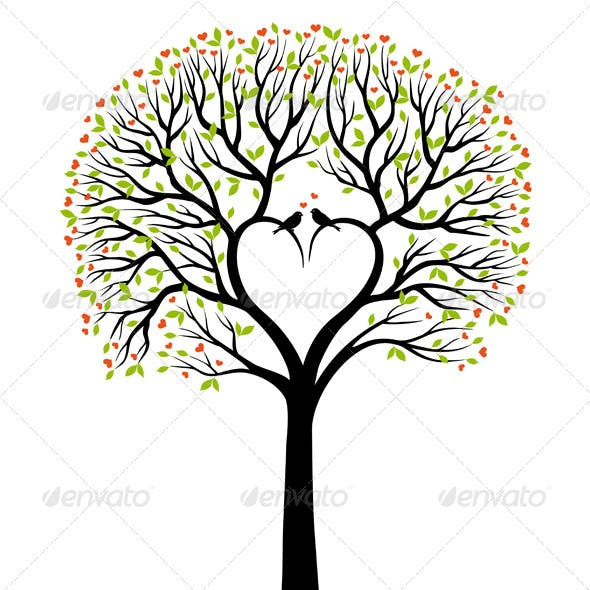 Love Tree With Heart And Birds, Vector
