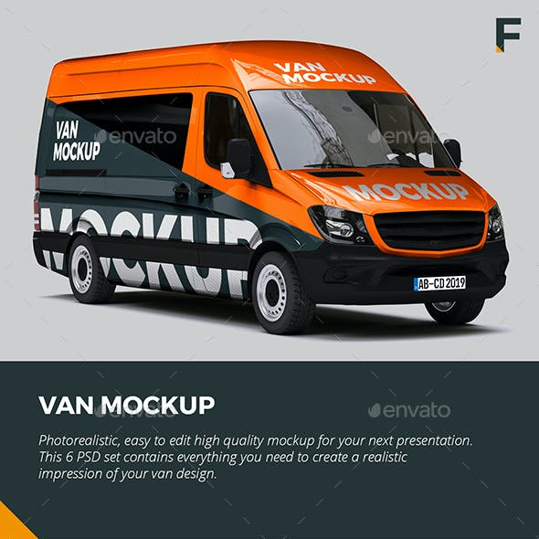Mercedes Sprinter Van Mockup