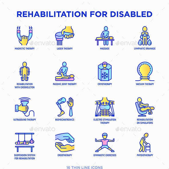 Rehabilitation for disabled   16 Thin Line Icons Set