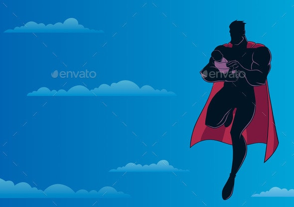 Super Dad with Baby Sky Silhouette - People Characters