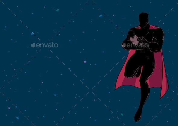 Super Dad with Baby Space Silhouette - People Characters