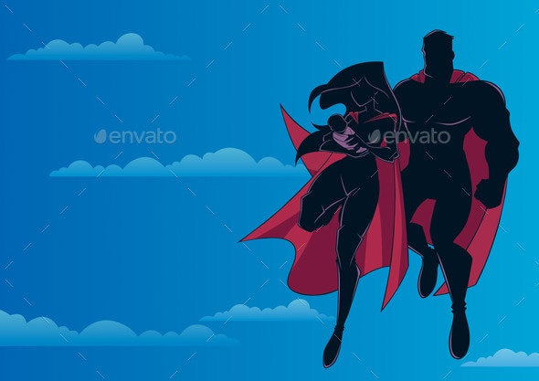 Super Mom Dad and Baby Sky Silhouette - People Characters