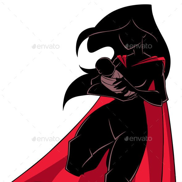 Super Mom with Baby Silhouette