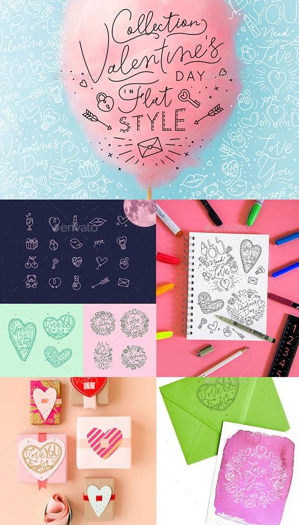 Valentine's Day Flat Style - Valentines Seasons/Holidays