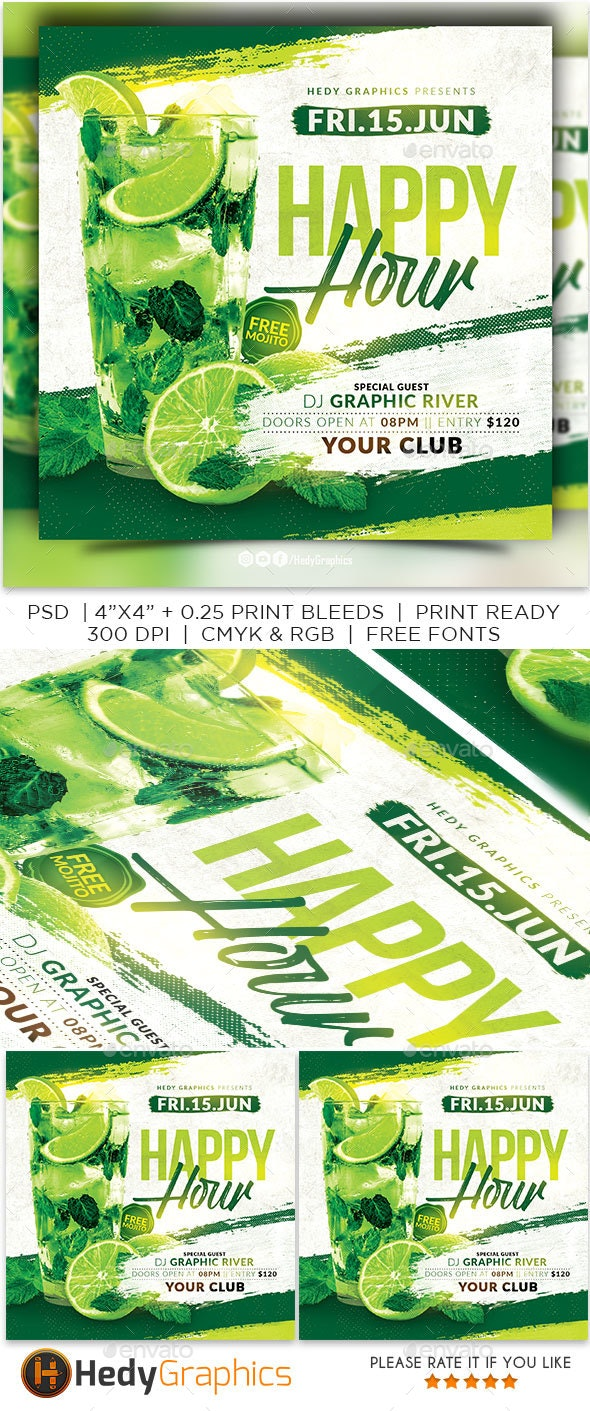 Happy Hour Flyer - Clubs & Parties Events