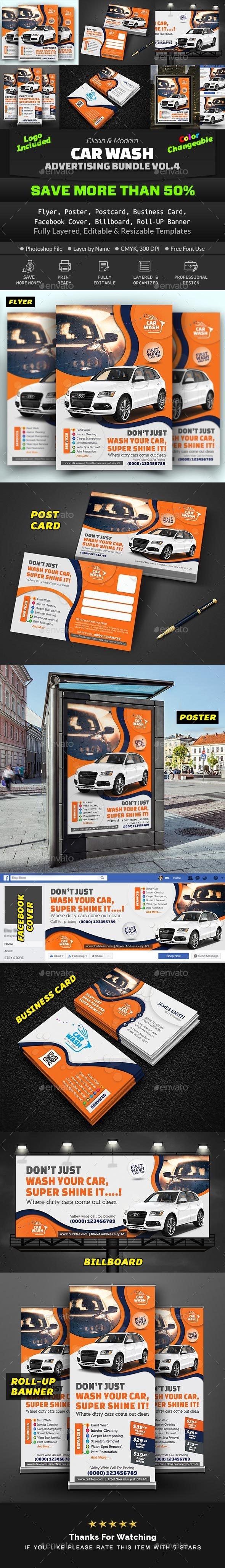 Car Wash Advertising Bundle Vol. 4 - Print Templates
