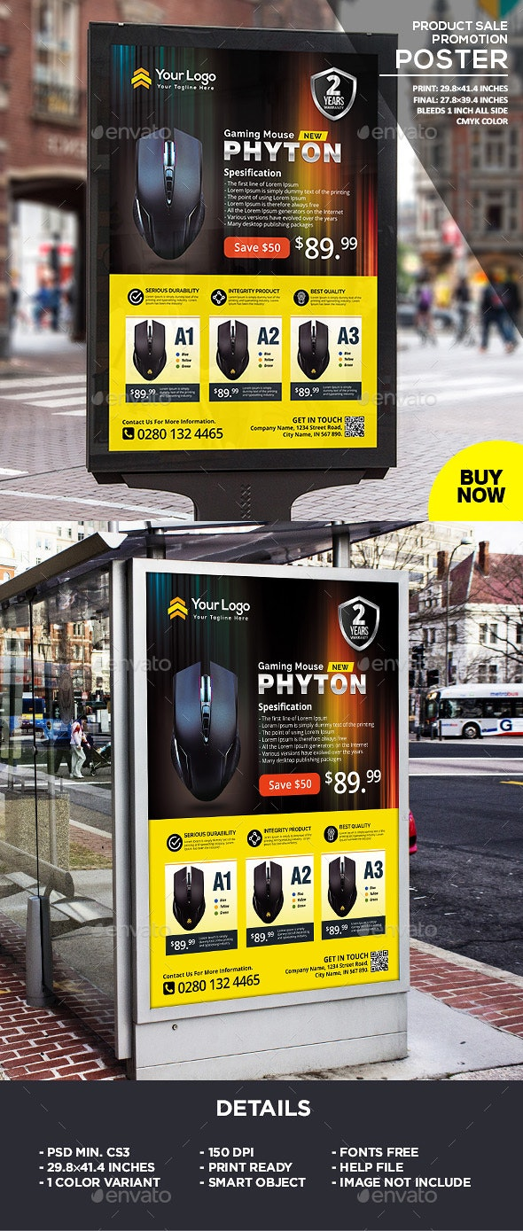 Product Promotion Poster Template - Signage Print Templates