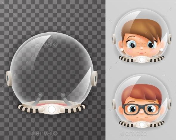 Retro Cosmonaut Helmet Realistic Astronaut - Miscellaneous Vectors