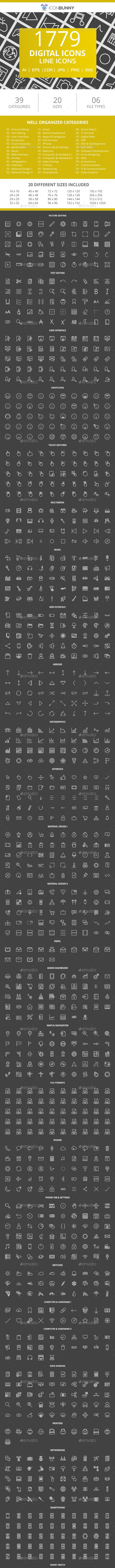 1779 Digital Line Inverted Icons - Icons