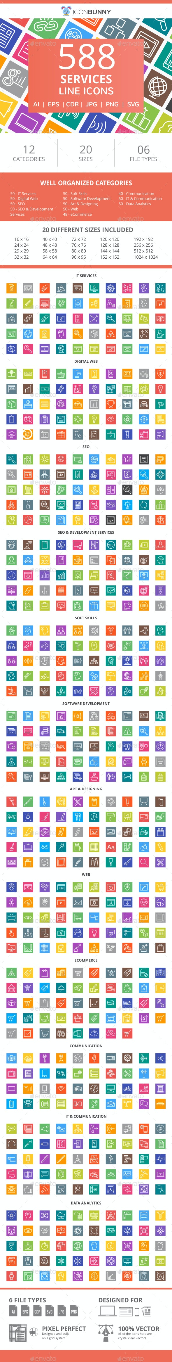 588 Services Line Multicolor B/G Icons - Icons