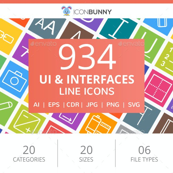 934 UI & Interfaces Line Multicolor B/G Icons