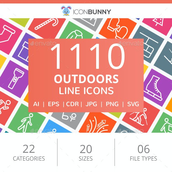 1110 Outdoors Line Multicolor B/G Icons